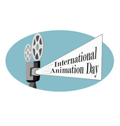 international day of animation with a movie vector image