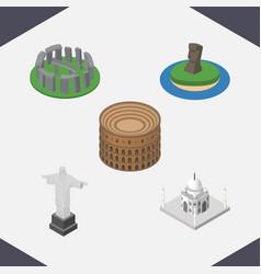 Isometric architecture set of england rio india vector