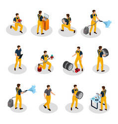 Isometric auto service people set vector