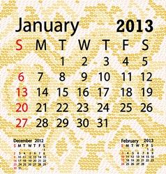 January 2013 calendar albino snake skin vector