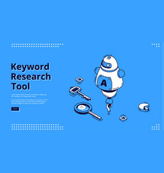 keyword research tool banner with isometric icons vector image
