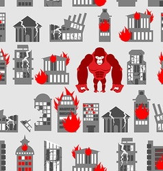 King Kong Ruined building seamless pattern vector