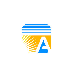 letter a with sun logo icon vector image