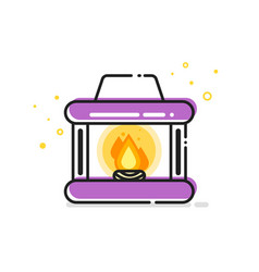 line art of fireplace vector image vector image