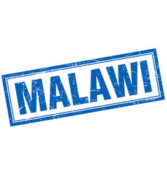 Malawi blue square grunge stamp on white vector