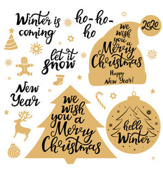 merry christmas new year 2020 let it snow vector image