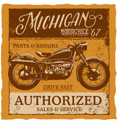 Michigan vintage label typeface poster vector
