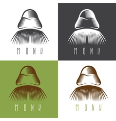 Monk face set simple design vector