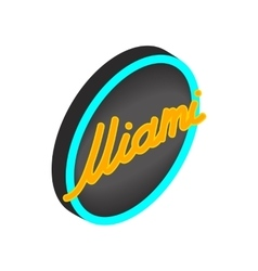 Neon sign Miami icon isometric 3d style vector