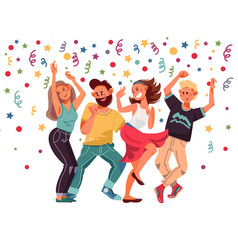 people on party cartoon female excitement dance vector image
