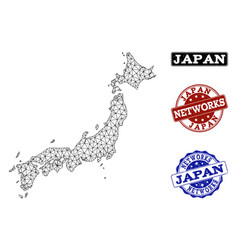 polygonal network mesh map of japan and vector image