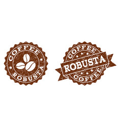robusta stamp seals with grunge texture in coffee vector image