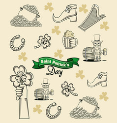 saint patricks day elements cartoon vector image