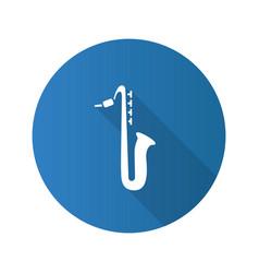 saxophone flat design long shadow glyph icon vector image