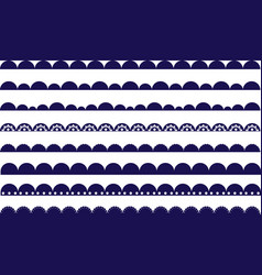 Scallop waves navy border brush vector