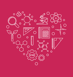Science technology engineering and math heart vector