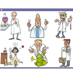 scientists characters cartoon set vector image