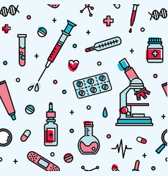 Seamless pattern with medical laboratory equipment vector