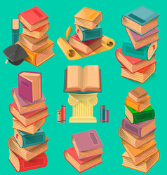 set book stacks in flat design vector image