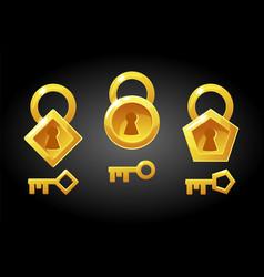 set golden keys and locks vector image