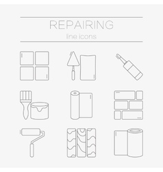 Set line icons for diy finishing vector