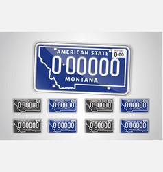 Set montana auto license plate detailed object vector