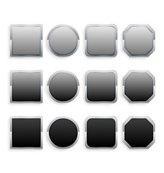 set of black and gray metal frame buttons vector image