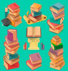 set of book stacks in flat design vector image