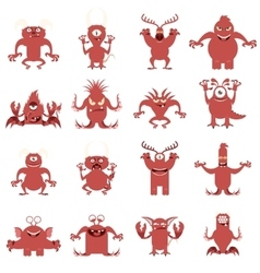set of flat moster icons vector image