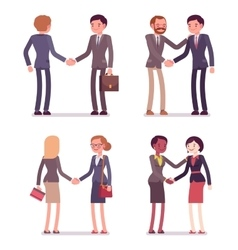 Set of four business pairs handshaking vector