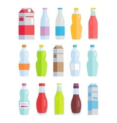 Set of variety bottles and packs with beverages vector