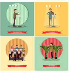 set orchestra concept posters in flat vector image