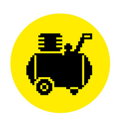 Silhouette of the compressor icon in pixel style vector