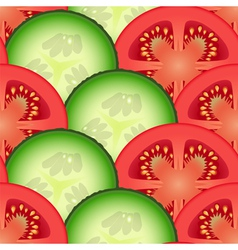 Sliced tomato and cucumber vegetables vector