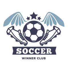 soccer winner club isolated icon with lettering vector image