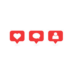 social media notifications icons vector image