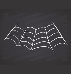 spider web hand drawn sketched web on chalkboard vector image