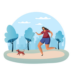 sportswoman running with dog on lead vector image