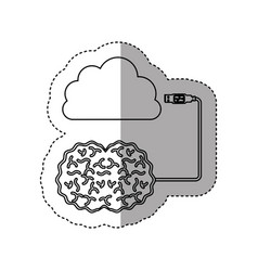 Sticker silhouette brain hosting data in cloud vector