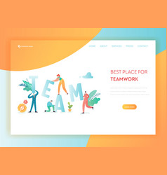 teamwork business solutions landing page template vector image