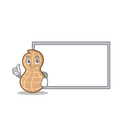 Thumb up with board peanut character cartoon style vector