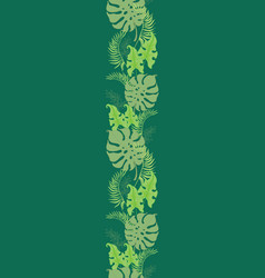 Tropical green leaves seamless border frame vector