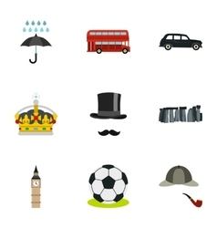 United Kingdom icons set flat style vector