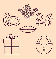 valentine thin icons set isolated on pink vector image
