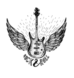 Vintage label with rock and roll forever vector