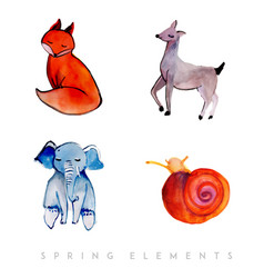 watercolor spring animals collection vector image
