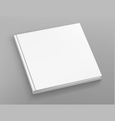 White hardcover square book album mock up on grey vector