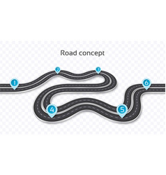 Winding 3d road concept on a transparent vector