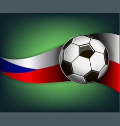 with soccer ball and flag of czech vector image