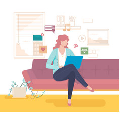 woman on the couch communicates with online vector image